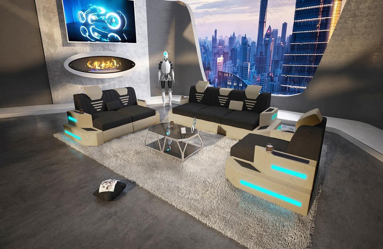 Designová sedací souprava NEMESIS 3+2+1 s LED osvětlením a USB přípojkou