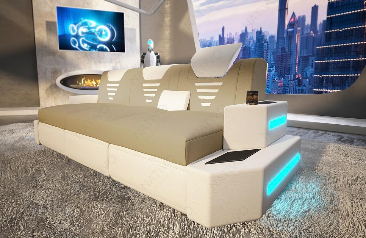 Designová 3-místná pohovka NEMESIS s LED osvětlením a USB přípojkou
