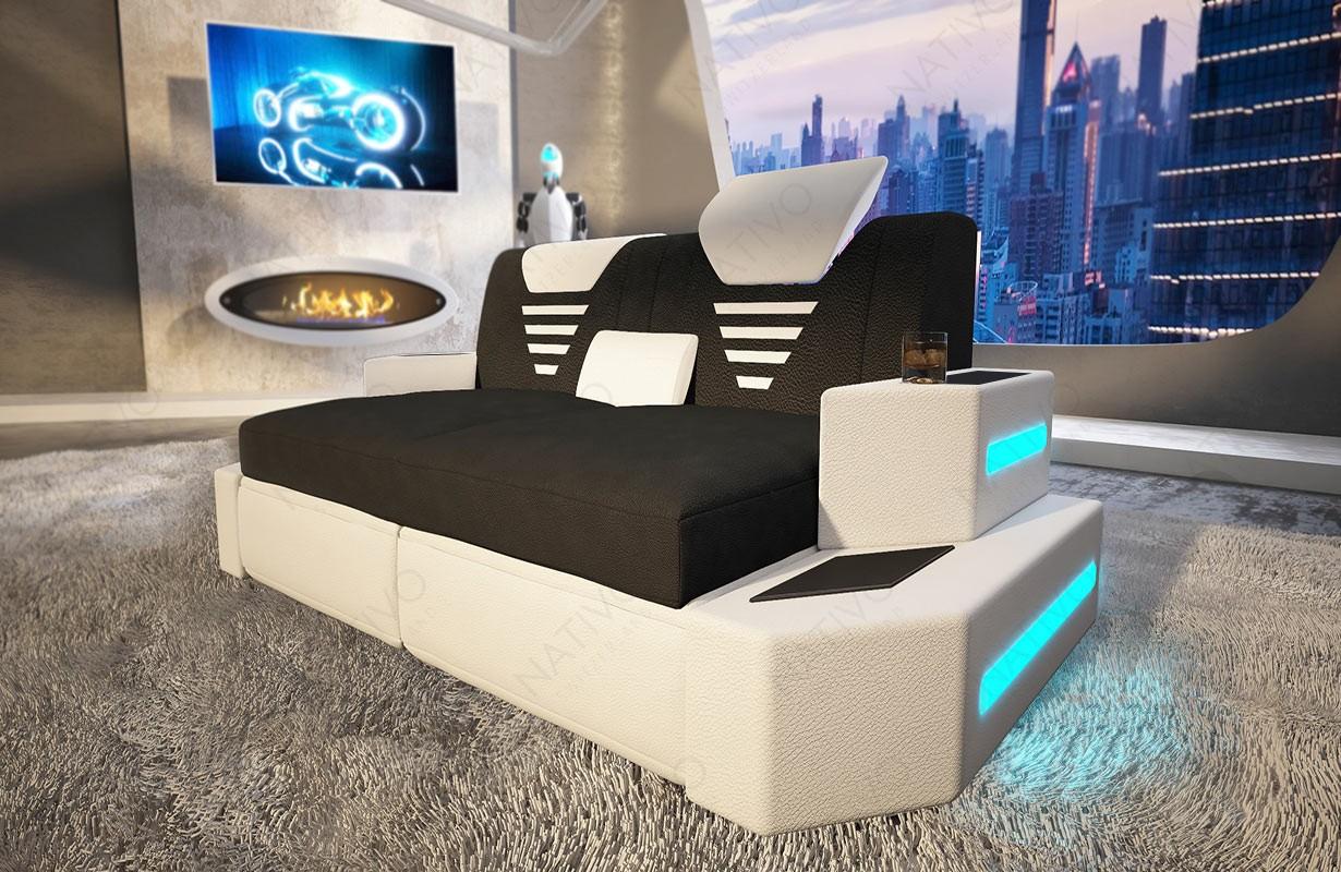 Designová 2-místná pohovka NEMESIS s LED osvětlením a USB přípojkou