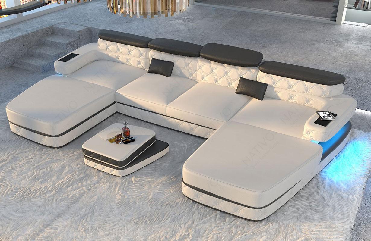Designová sedací souprava EXODUS XXL DUO s LED osvětlením a USB přípojkou