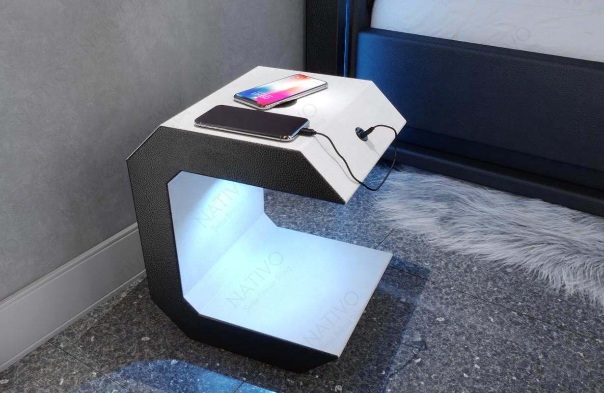 Noční stolek LUNA s USB přípojkou a bezdrátovou nabíječkou