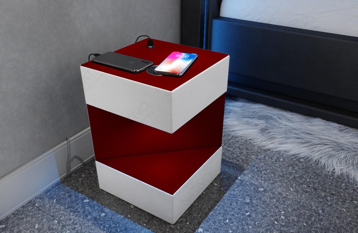 Noční stolek COSMOS s USB přípojkou a bezdrátovou nabíječkou