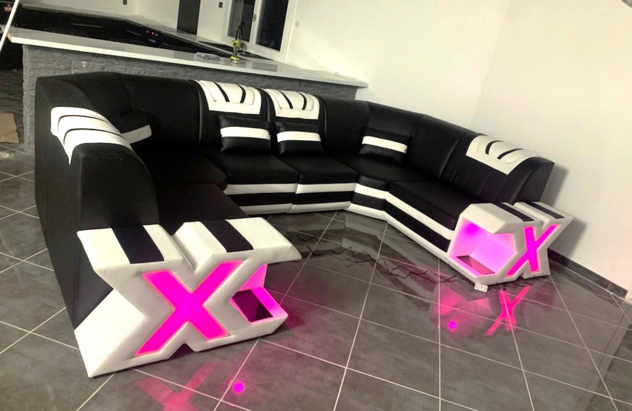 Designová sedací souprava s LED osvětlením a USB přípojkou