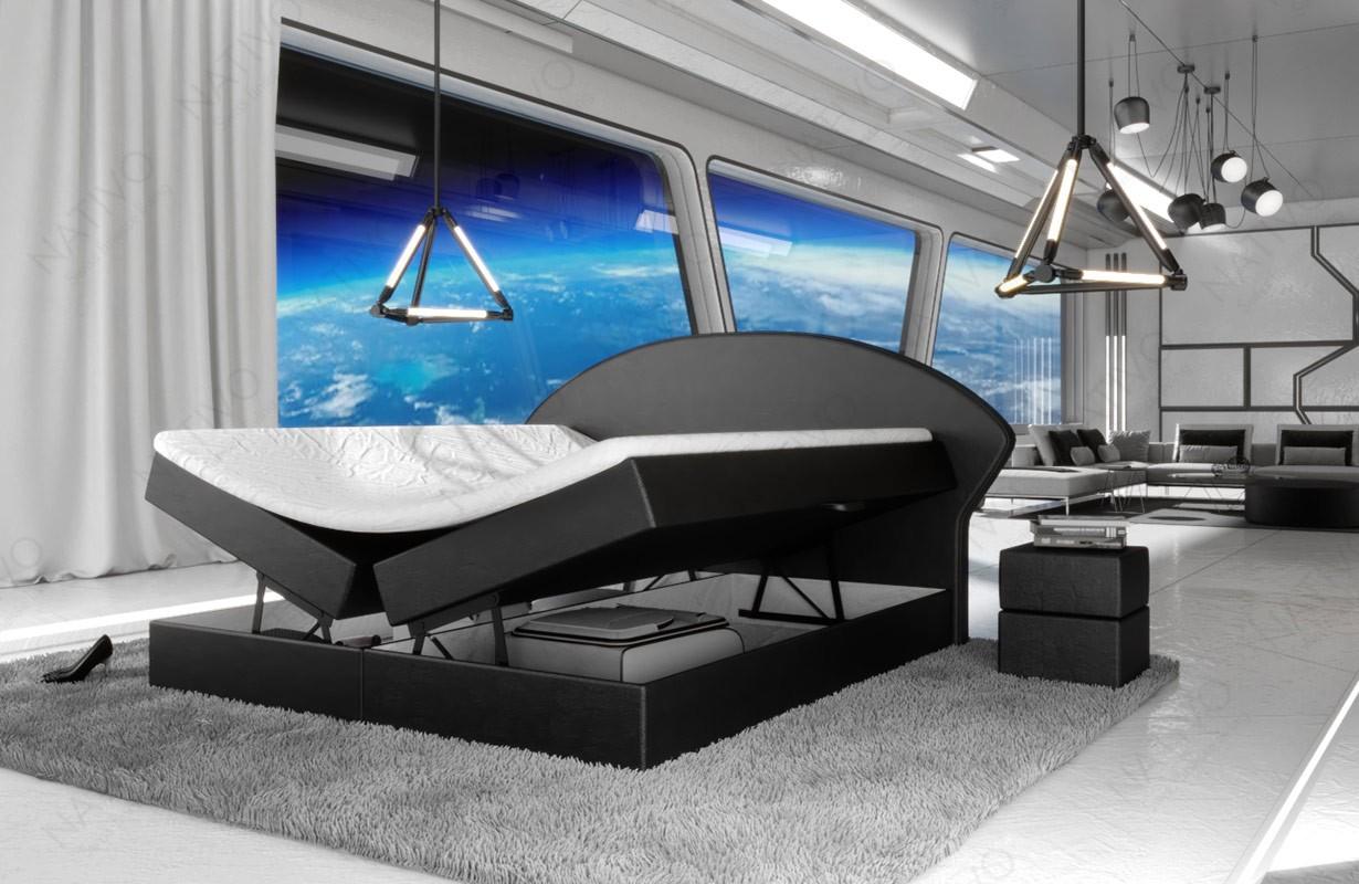 Boxspring kožená postel PERSEUS s Topper matrací a úložným prostorem by © iconX STUDIOS