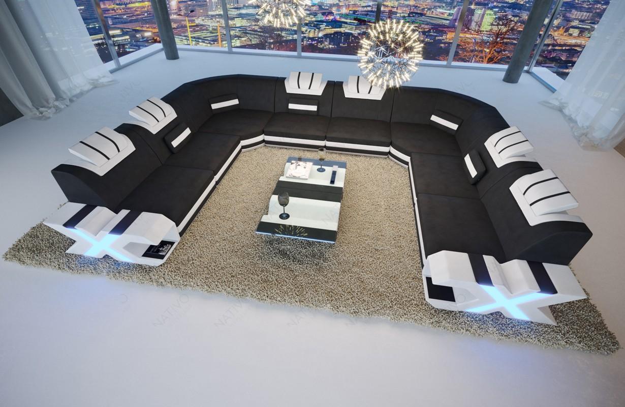 Designová sedací souprava MYSTIQUE CORNER U FORM s LED osvětlením a USB přípojkou