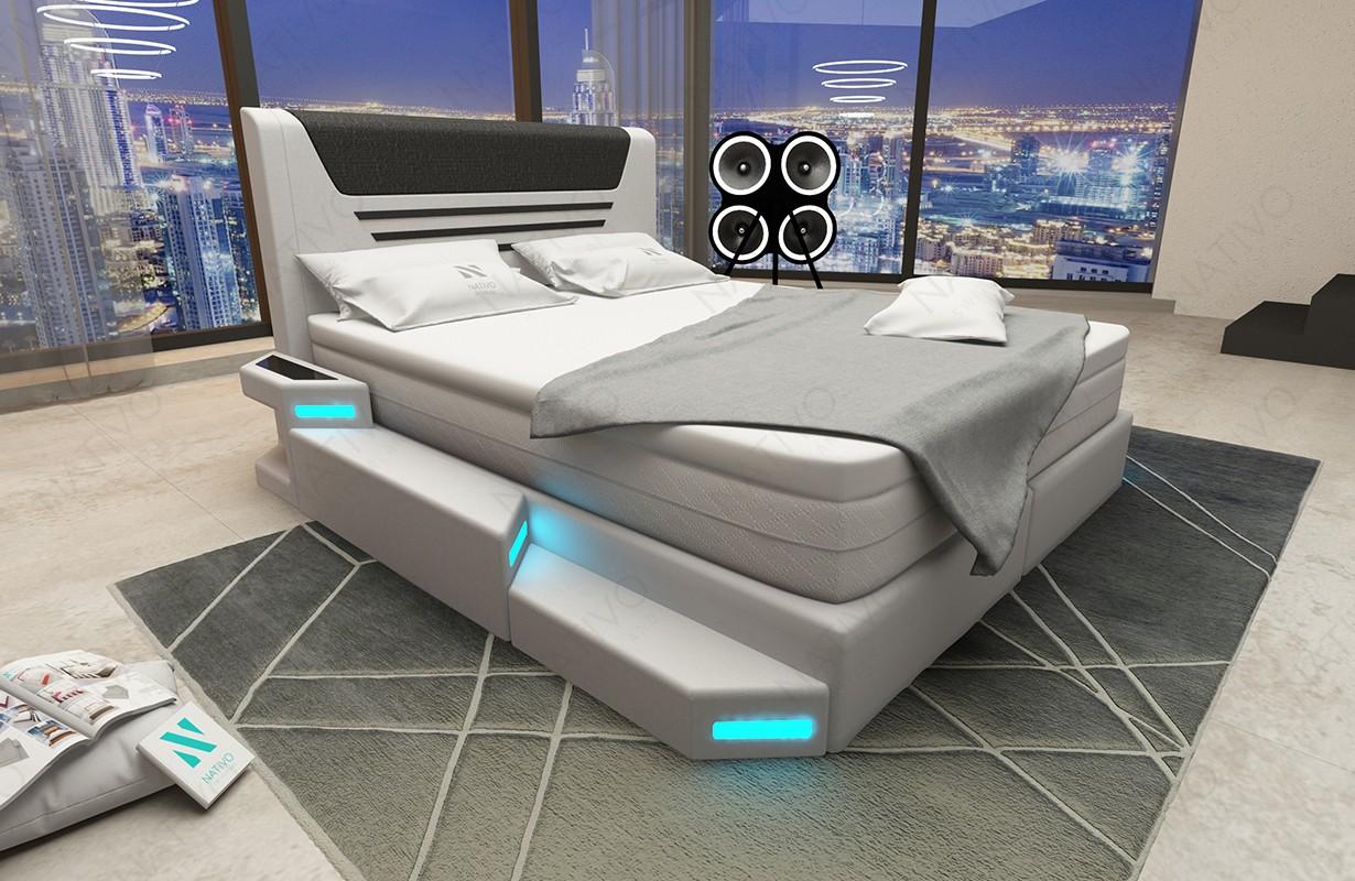 Boxspring kožená postel NEMESIS s Topper matrací a USB přípojkou