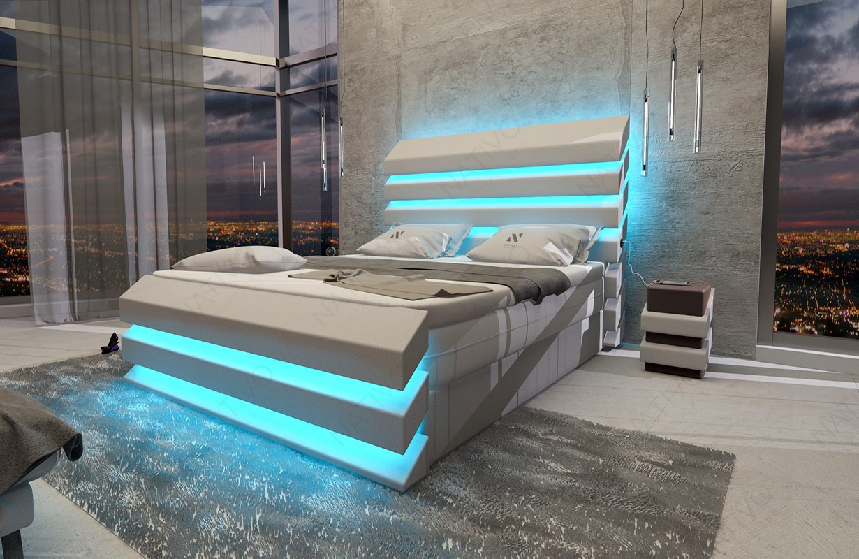 Boxspring kožená postel BERLIN s Topper matrací a USB přípojkou