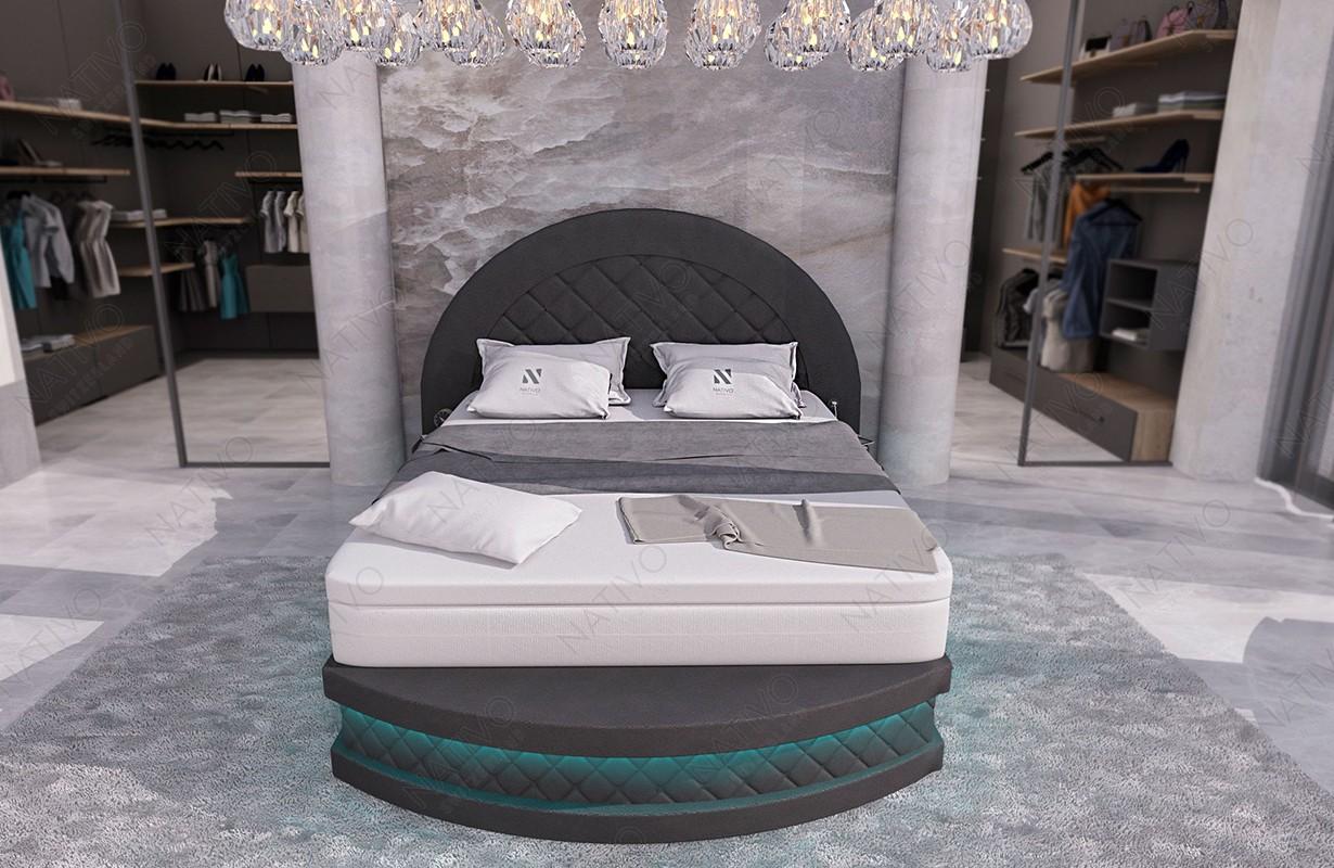 Boxspring kožená postel FRANKFURT s Topper matrací a USB přípojkou