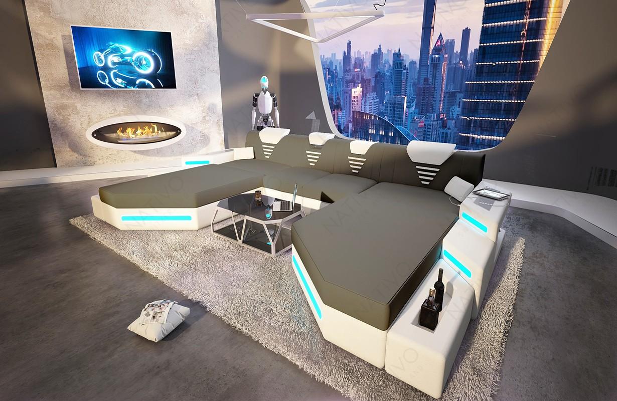 Designová sedací souprava NEMESIS XXL DUO s LED osvětlením a USB přípojkou