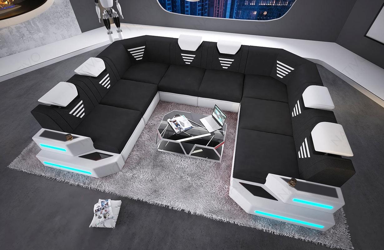 Designová sedací souprava NEMESIS CORNER U FORM s LED osvětlením a USB přípojkou